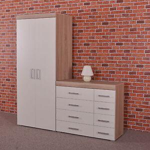 2 Door Wardrobe & 4+4 Chest of Drawers in White & Sonoma Oak Bedroom Furniture 8