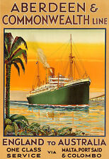 ABERDEEN  COMMONWEALTH LINE  ENGLAND TO AUSTRALIA Travel  Deco Ship Poster Print