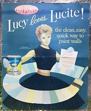 RARE Vintage Lucy Loves LUCITE Lucille Ball DUPONT Paint Sign Display 37x30 WOW!