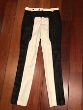 Thakoon White Denim & Black Leather Pants Medium