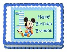 MICKEY MOUSE 1ST BIRTHDAY party edible cake image decoration frosting sheet