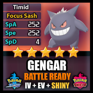 Pokemon Sword and Shield 6IV SHINY Gengar BATTLE READY IV Can Breed w/ Ditto