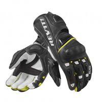 Guanti pelle canguro moto racing pista Rev'it Jerez nero giallo L yellow gloves