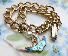 Vintage Sarah Coventry Bracelet Blue Bird Guilloche Enamel Little Girl #1042H