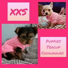 PINK Size XXS Puppy Dog Coat Knitted Warm Jumper Chihuahua Teacup Extra Small