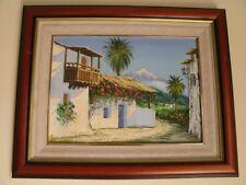 Peinture a l'huile peintre contemporain Salazar encadré, signé.