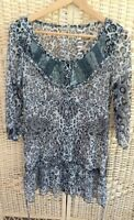M&Co Boutique Size 10 Animal Print Long Tunic Dress Top Grey Black Sequin Beads