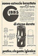 W7891 Astuccio per sapone da barba GIBBS - Pubblicità del 1933 - Old advertising
