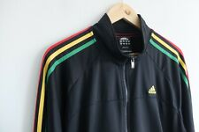 Adidas Originals tracksuit jacket black Rasta stripes M/L Red Green Yellow Rare