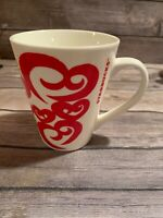 Starbucks Coffee Cup Mug 2016 Red Hearts 12 Oz Collectible Valentines