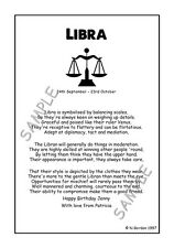 LIBRA Personalised Zodiac Star Sign Birthday Christmas Gift Poems A5