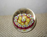 Vintage Fratelli Toso Art Glass Murano Floating Canes Millefiori Paperweight