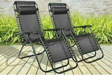 2 X RECLINING SUN LOUNGER ADJUSTABLE OUTDOOR GARDEN FOLDING ZERO GRAVITY CHAIR