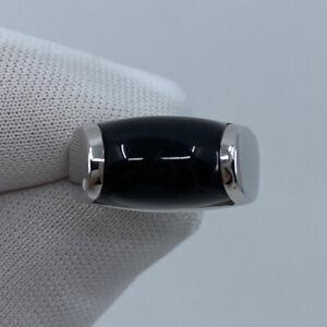 Vintage Bvlgari Bulgari Tronchetto Black Onyx 18k White Gold Ring with Box