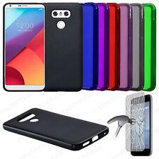 Funda silicona + CRISTAL TEMPLADO para LG G6 Gel TPU Lisa Mate Colores