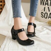 Womens Patent Leather Mary Jane Shoe Round Toe Buckle Retro Lady Mid Block Heels