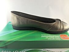 Easy Street Giddy Ballet Flat Pewter Metallic Gray Grey Bow Comfort 10 M
