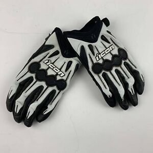 NEW Icon Women L White Gel Leather Motorcycle Gloves Biker Outdoor Casual