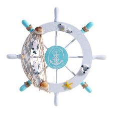 Home Decor Nautical Beach Wooden Boat Ship Steering Wheel Fishing Net Shell