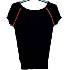 Black knit top with red & green trim