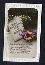 c1920s Birthday Card: To My Sister: Flowers: Bright Happy Day