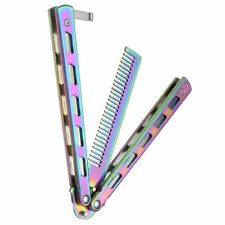 Foldable Comb Stainless Steel Practice Training Butterfly Knife Comb Beard Brush