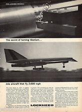 1964 LOCKHEED 2000 Supersonic Transport Jet Aircraft Vintage Aviation Photo Ad*