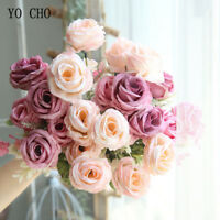 6 Heads Roses Artificial Bouquet Silk Peony Pink White Wedding Flower Home Decor
