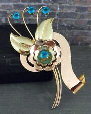 Vintage Harry Iskin 1/20 10K Rose & Yellow Gold Flower Brooch w Blue Stones
