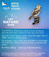 More details for rspb pin badge let nature sing skylark very rare special edition 01604