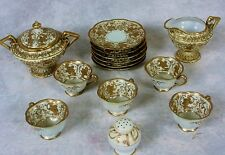 Antique Heavy Gold Moriage Nippon Teacups & Saucers Cream & Sugar Set Maple Leaf