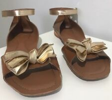 TOPSHOP BNWT Gold And Tan Summer Sandals with bow leather Size UK6 RRP £32