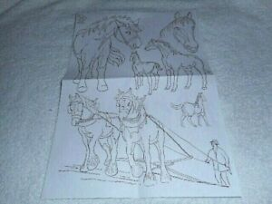 Vintage Embroidery Iron-on Transfer - Horses - (S289)