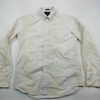 American Eagle Outfitters Mens Oxford Shirt White Geometric Long Sleeve XS