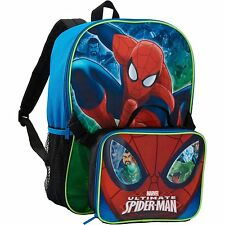 Spider-Man Backpack with lunch bag detachable School Bag NEW