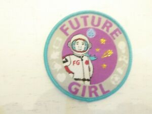 Rainbow, Brownie, Girl Guide cloth challenge badges. Collector FUTURE GIRL Space