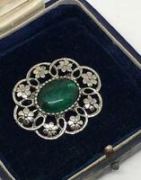 Vintage Brooch Silver Tone Green Lucite (?) Cabochon Pretty Retro Kitsch Costume
