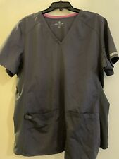 Med Couture Gray Scrub Top 2x