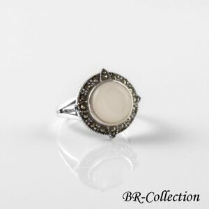 Sterling Silver Ring with Mother of Pearl Shell and Swiss Marcasite