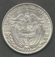 PANAMA,  1953,  1/2 BALBOA,  SILVER,  CHOICE ALMOST UNCIRCULATED,  KM#20