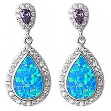 Amethyst, Cz, & Blue Fire Opal High End .925 Sterling Silver Earrings