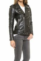 Genuine Lambskin Leather Womens Classic Ladies Brando Biker Quilted Jacket
