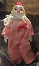 Clown Jester Doll W/ White Porcelain Face & Pink Outfit 8 Inches Tall