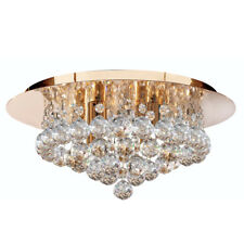 Searchlight Hanna 4 Lights Gold Crystal Ball Flush Ceiling Fitting Chandelier