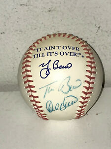 """Dale and Tim Berra Signed Autographed Ball """"It Ain't Over"""" """"Yogi Berra"""""""