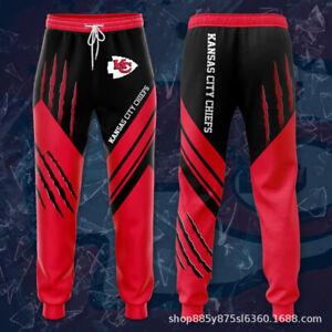 Kansas City Chiefs Mens Casual Joggging Pants Sweatpants Footbal Loose Trousers