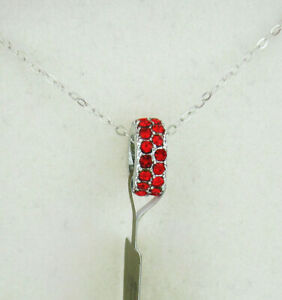 RED RUBY SLIDE PENDANT SILVER PLATED  * NWT* FREE CHAIN