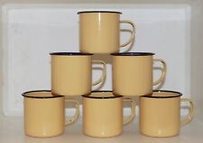 6er Pack Emaile Tasse Emaille Kaffee Becher Camping Retro Metall hellgelb B-Ware