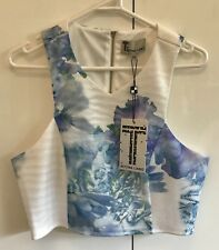 T By Bettina Liano Size 14 Blue White Pattern Crop Top RRP$70 New With Tags