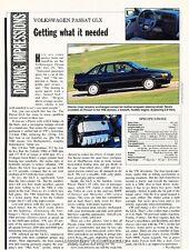 1992 VW Volkswagen Passat GLX Original Car Review Print Article J643